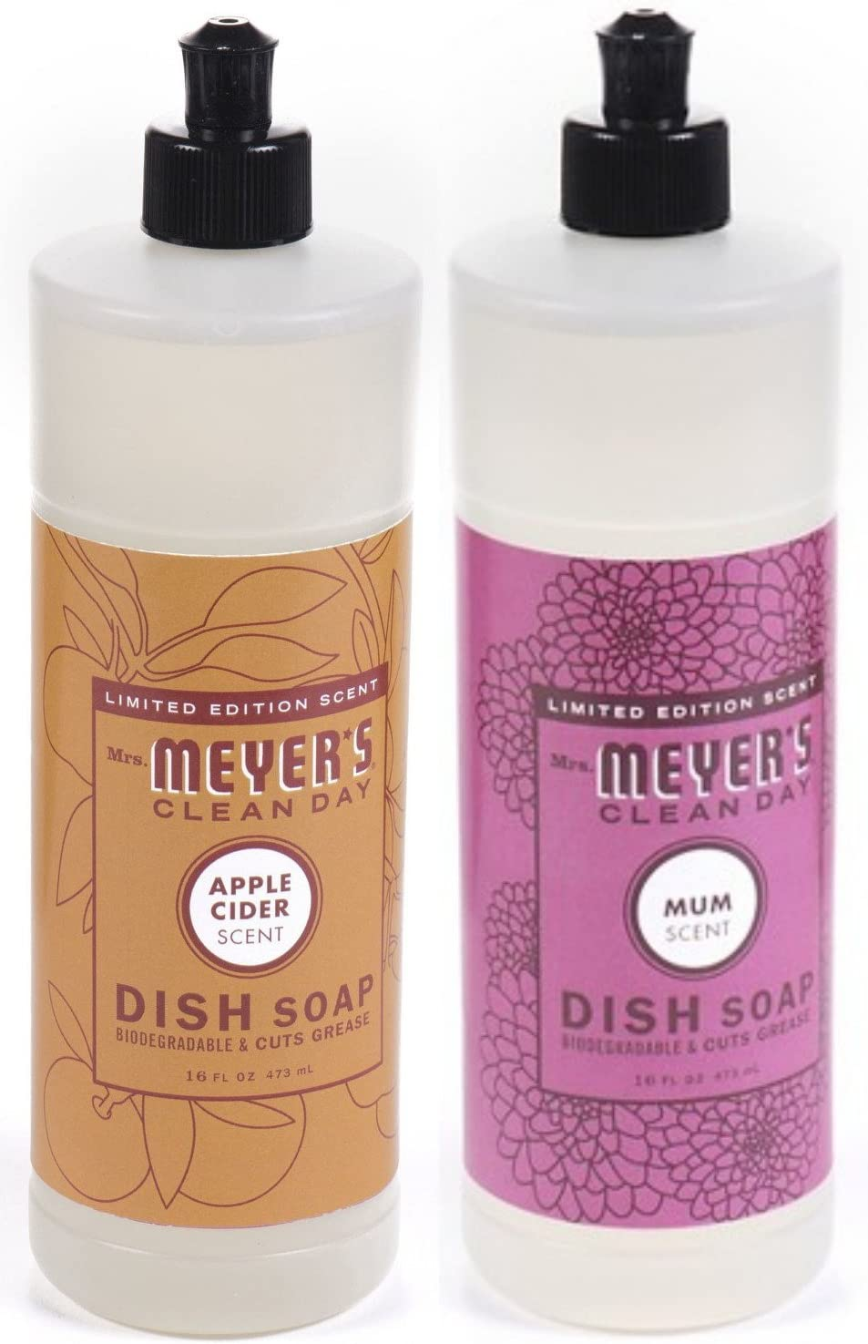 Mrs. Meyer's Liquid Dish Soap Variety Pack, 1 Apple Cider, 1 Mum, 1 CT