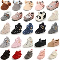 E-FAK Baby Cozy Fleece Booties with Non Skid Bottom Newborn Infant Crib Shoes Snow Boots