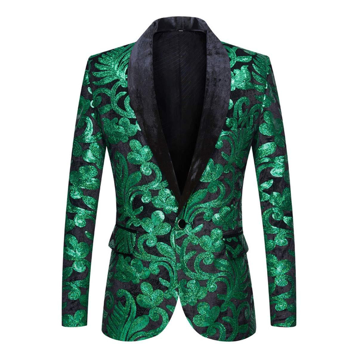 PYJTRL Men Fashion Velvet Sequins Floral Pattern Suit Jacket Blazer (Green, S/38R) by PYJTRL
