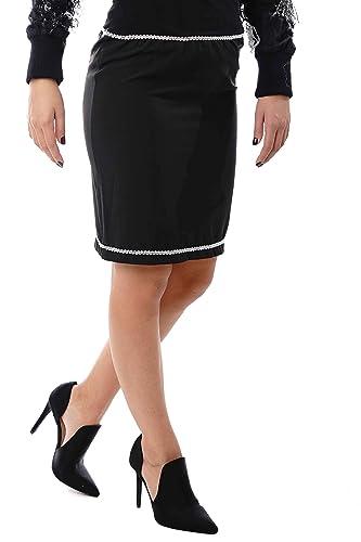 Morgan Visioli Fashion Falda Mujer Negra Geometrica: Amazon.es ...