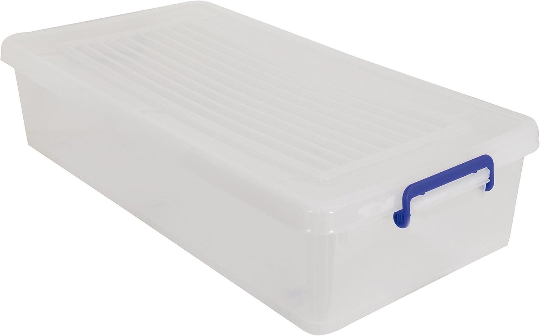 MSV 100152 Bo/îte de Rangement /à Roulettes Polypropyl/ène Blanc Transparent//Poign/ées Bleu 35 L