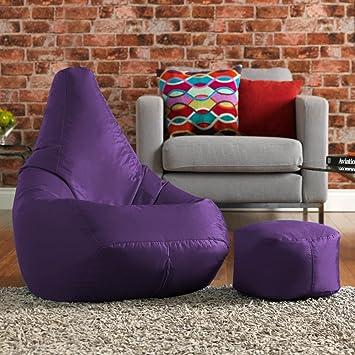 Bean Bag Bazaar High Back Chair And Footstool Combo   Purple, 113cm X 50cm