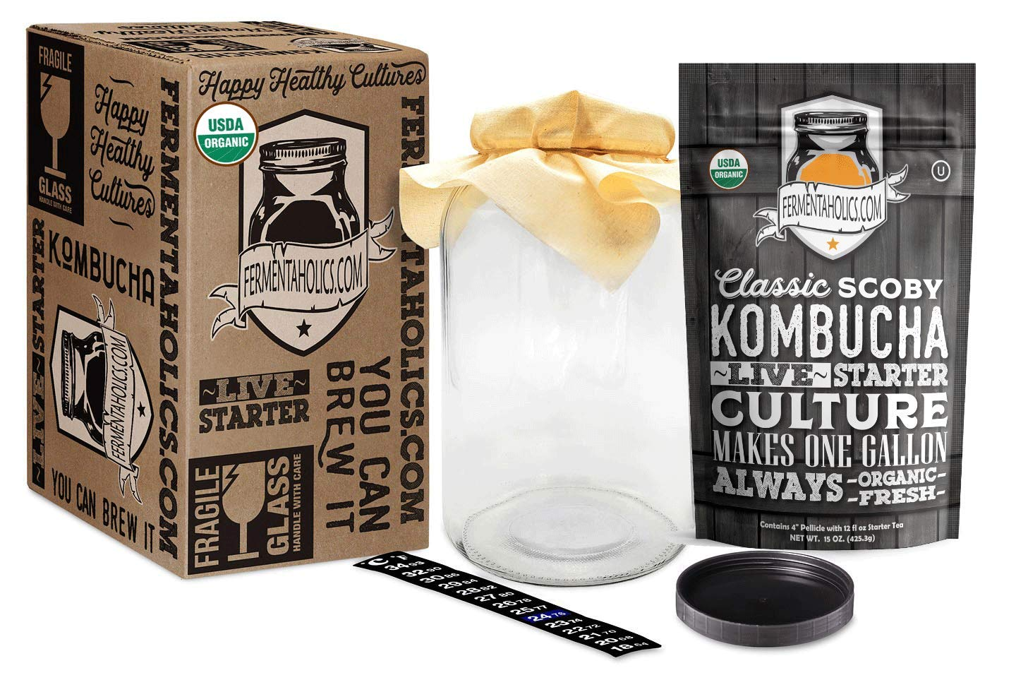 Kombucha Essentials Kit - ORGANIC SCOBY (starter culture) + 1-Gallon Glass Fermenting Jar with Breathable Cover + Rubber Band + Adhesive Thermometer - Brew kombucha at Home - D by Fermentaholics