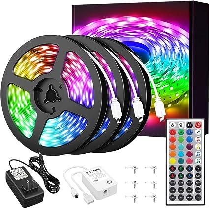 50ft LED Fairy Xmas Strip Lights WIFI RGB 2835 Music Sync 5-15M 12V with Remote