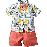 Bebé Niño Traje de 2 Piezas Conjunto Top Camisa de Manga Corta Pantalón Corto Camiseta con Estampado Infantil Ropa…