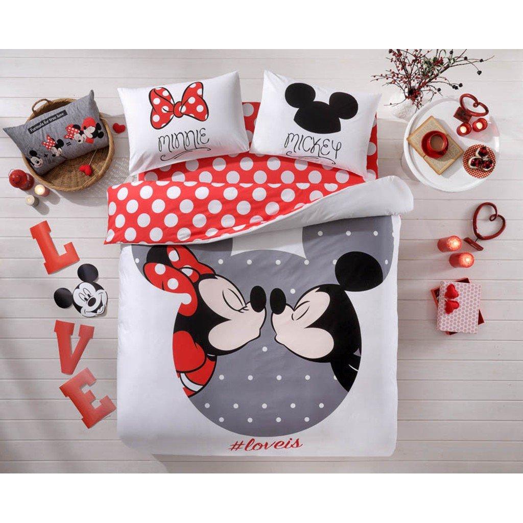 Original Lizenziert Bettwäsche-Set, Design Disney Mickey und Minnie Liebe Loveis Rot Weiß, Doppelte Größe, 100% Baumwolle, 4-Teilig (Bettbezug + Spannbettlaken + 2 Kissenbezug)