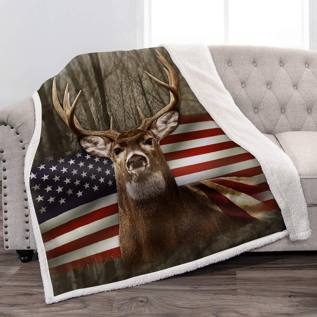 "Jekeno Sherpa Blanket US Flag with Deer Forest Soft Warm Print Throw Blanket Adults Gift Sofa Chair Bed Office 50""x60"""