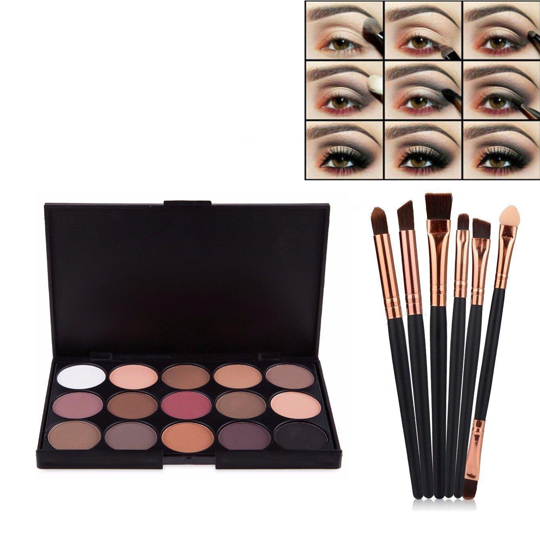 Vodisa Eyeshadow Palette 15 Waterproof Makeup Nature Glow Matte Eye Shadows Kits Professional Make Up Shimmer Eye Shadow Pallets with Eyes Makeup Brushes Set Beauty Cosmetics