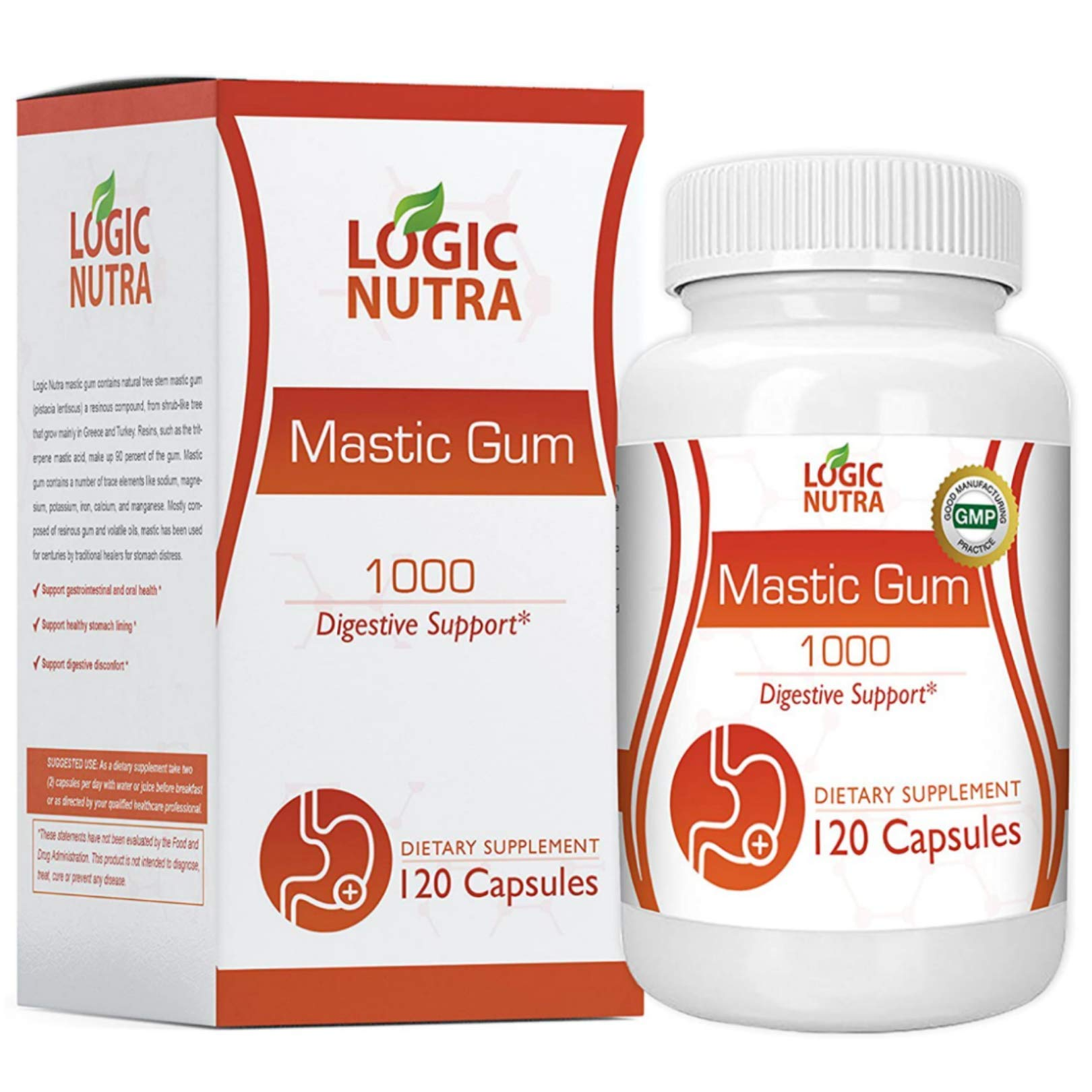 Mastic Gum 1000 mg Vegetarian Capsules by Logic Nutra, Supports Gastrointestinal Health, Digestive System, Immune and Oral Wellness Pylori Plex - Third Party Tested