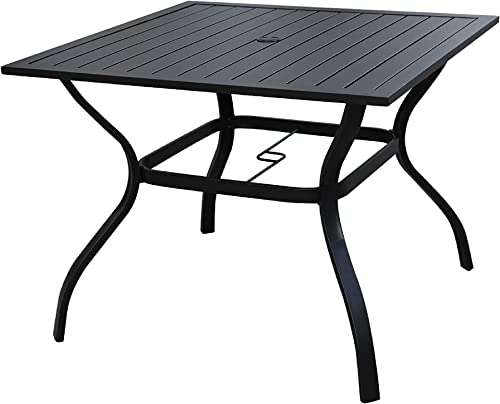LOKATSE HOME Outdoor Patio Dining Table Square Heavy Duty Furniture