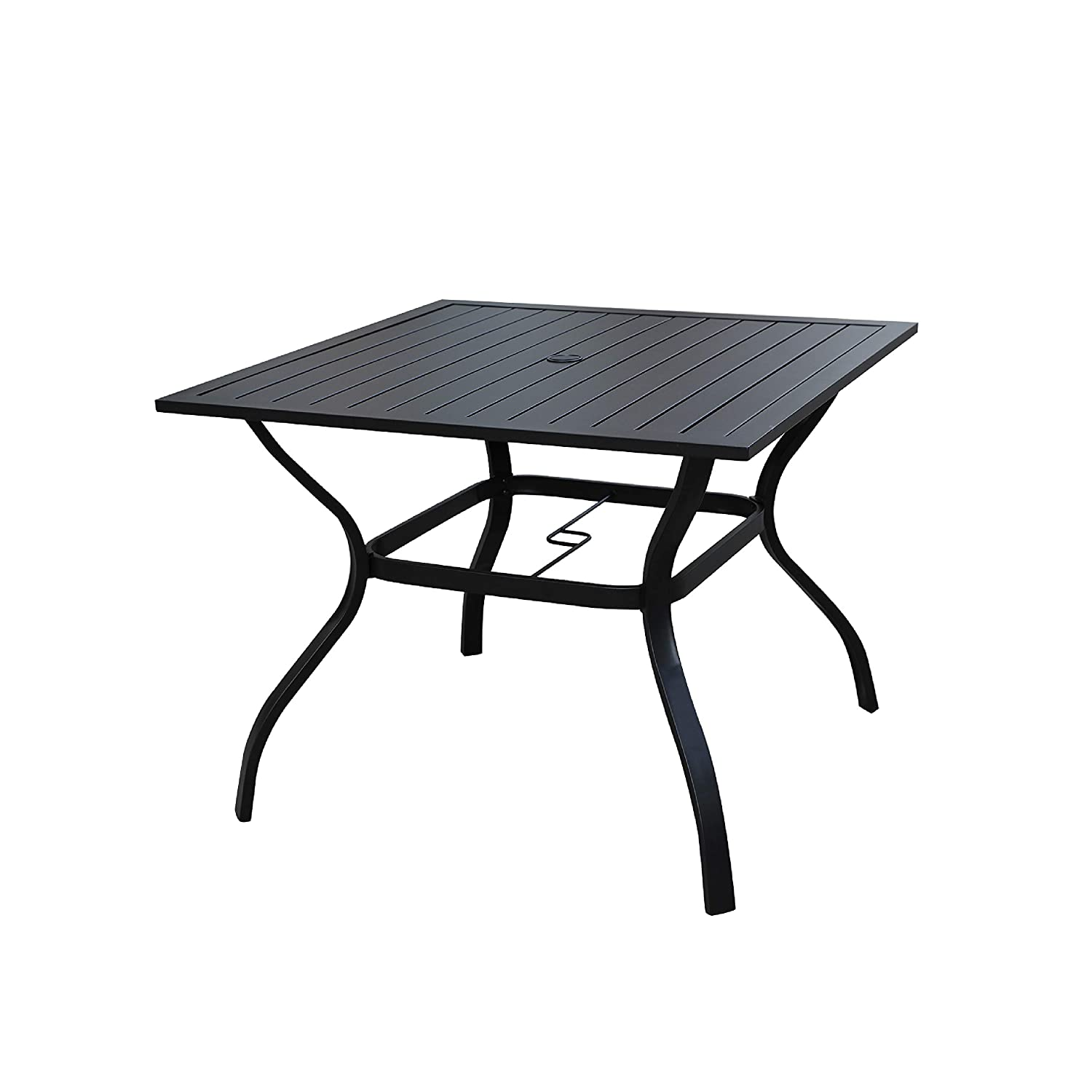LOKATSE HOME Outdoor Patio Dining Table Square Heavy Duty Furniture with Umbrella Hole, Black