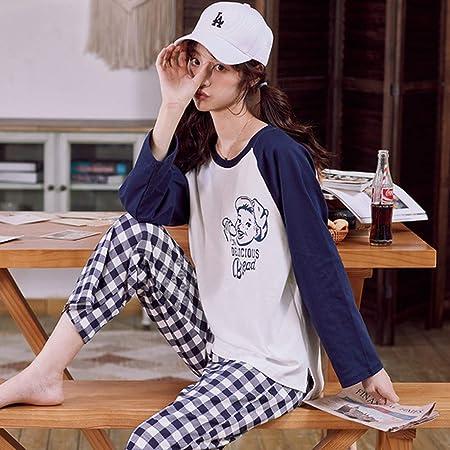 YPDM Pijama,Otoño Invierno Nuevo Conjunto de Pijamas de Manga Larga de algodón para Mujer Conjunto de Ropa de Dormir Suelta para Mujer Conjunto de Pijamas de Fiesta, C HT 8808, L: Amazon.es: