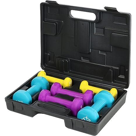 Juego de mancuernas con estuche DTX Fitness, 6kg, ideales para principiantes