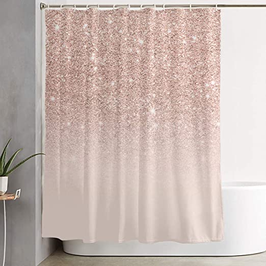 Dlzxhomer Rose Gold Glitter Pink Ombre Shower Curtain 60 72 Inch