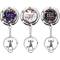 Foldable Decorative Art Purse Hooks for Tables Restaurant, Under Bar or Office Desk. Compact with Keychain Extension…