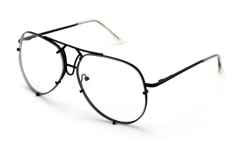457d78947f V.W.E. New Large Non-Prescription Premium Aviator Clear Lens Glasses Gold  Silver Black