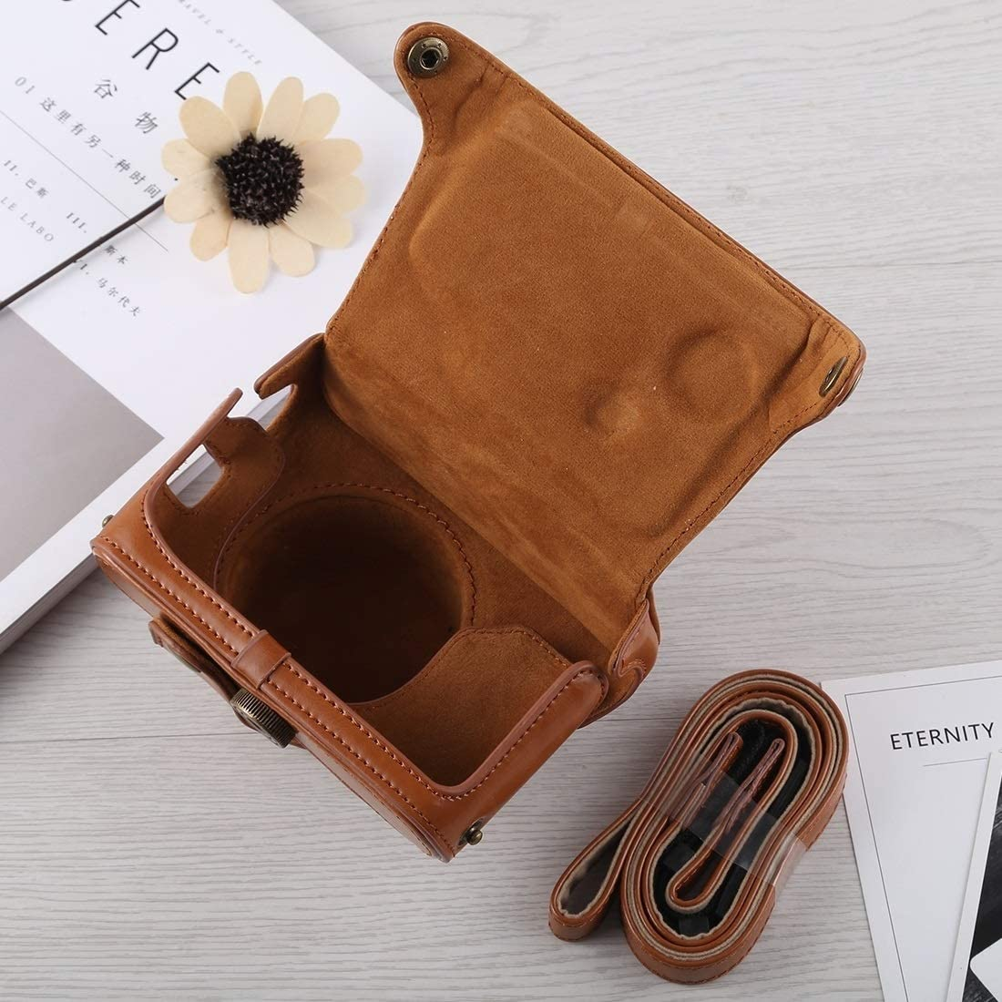 Color : Black Black Ychaoya Camera Bag Wuzpx Entire Body Camera PU Leather Case Bag with Strap for Fujifilm X100F