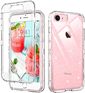 DUEDUE iPhone SE 2020 Case,iPhone 7 Case, iPhone 8 Case, 3 in 1 Glitter Shockproof Heavy Duty Hybrid Hard PC Transparent TPU Bumper Full Body Protective Case for iPhone SE 2/iPhone 7/8,Clear