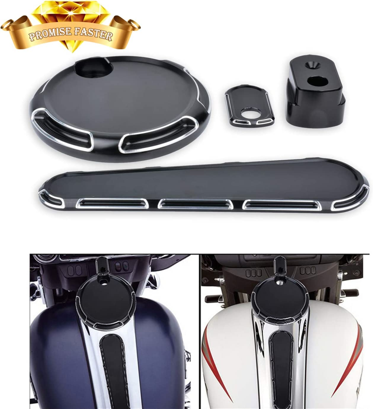 Fuel Gas Door Cover + Fule Dash Cover + Ignition switch Cover For Harley-Davidson Electra Glide Road Glide Street Glide Touring Models 2014-2020 (Black)