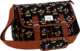 Disney Classic Mickey Moving Messenger Bag, 34 cm, Black (Negro)