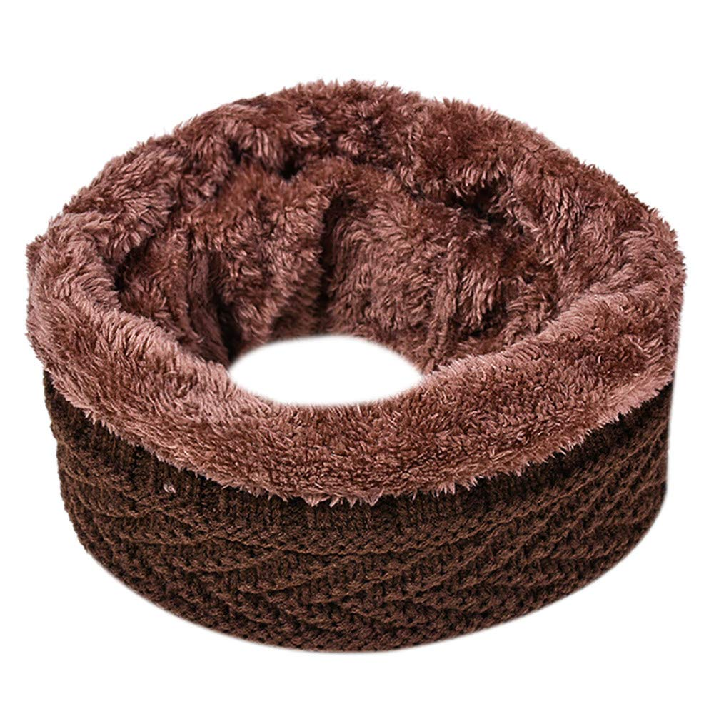 Jonecal Hot Sale! Women Men Scarf Neckerchief Winter Warm Collar Knitted Shawl Neck Scarf (Coffee)