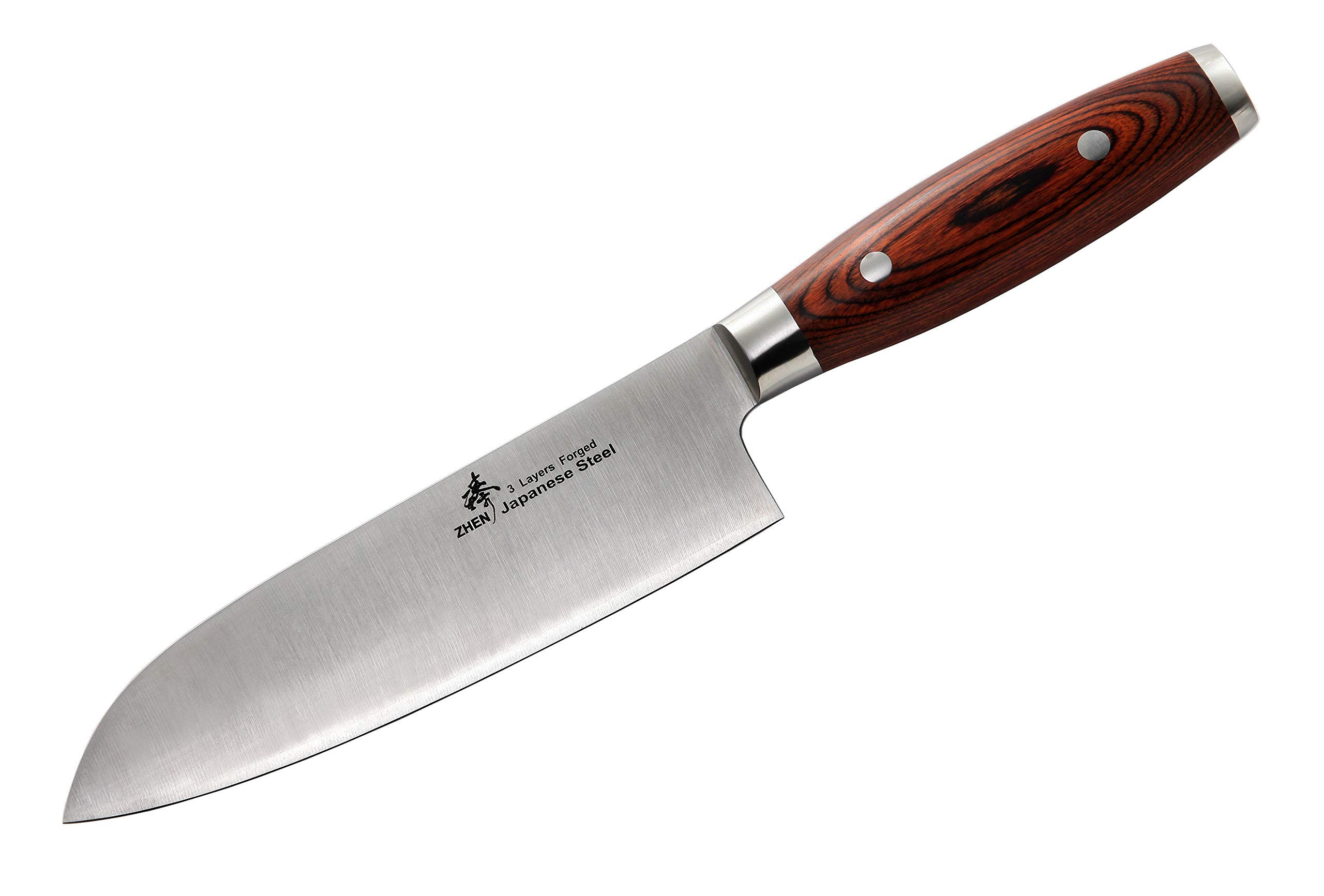 ZHEN Japanese VG-10 3 Layers forged steel Santoku Chef Knife 7-inch Cutlery