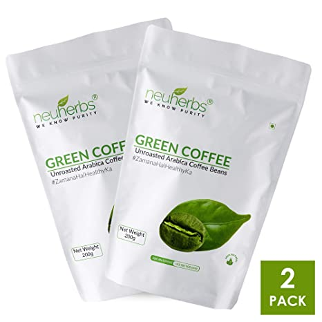 Neuherbs Organic Green Coffee Beans For Weight Loss 200g Pack Of 2