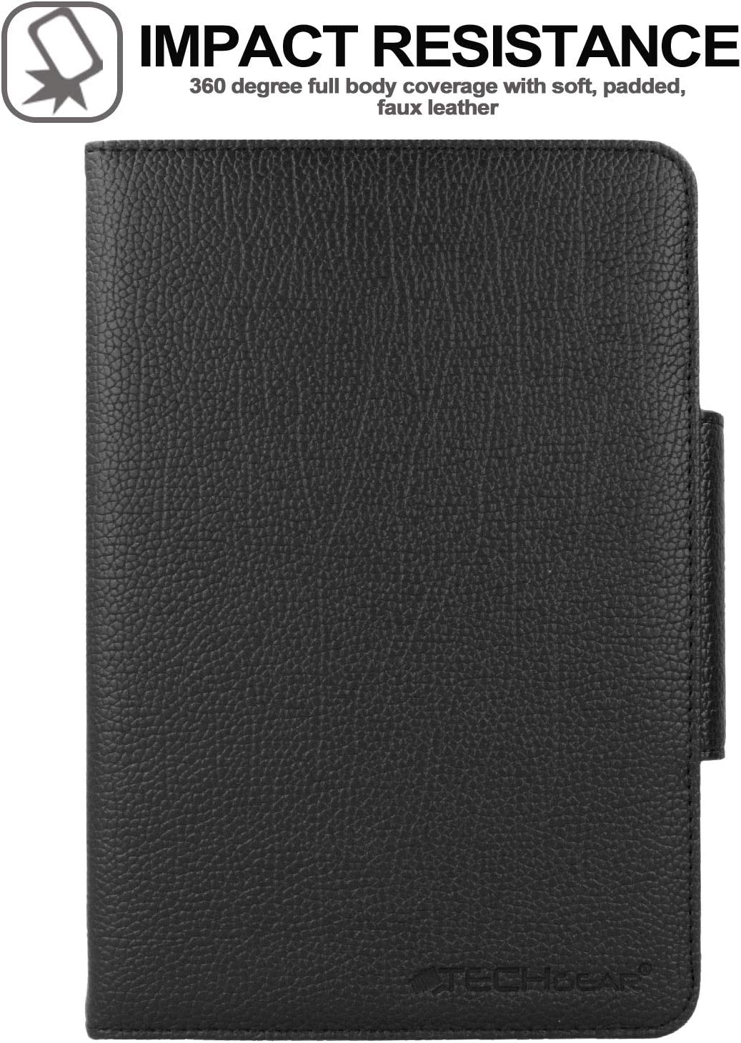 Fire 7 Keyboard Case TECHGEAR STRIKE FOLIO Case for  Fire 7 9th Generation // 2019 Black PU Leather Case with Detachable Bluetooth Wireless UK QWERTY Keyboard and Stand