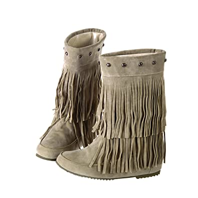 Suede Fringe Moccasin Boots Mid Calf Women's Round Toe Flat Ladies Winter Fashion Snow Booties