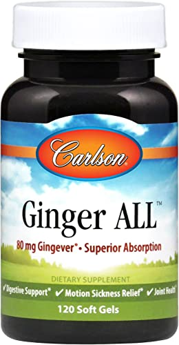 Carlson – Ginger All, 80 mg Gingever – Superior Absorption, Digestive Support, Motion Sickness Relief Joint Health, 120 Softgels