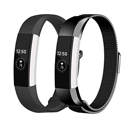 bf5d9235e34a7 Fundro Compatible Fitbit Alta HR and Alta Bands, Stainless Steel Metal  Bracelet Strap Replacement Wristband Magnetic Lock for Fitbit Alta Women Men