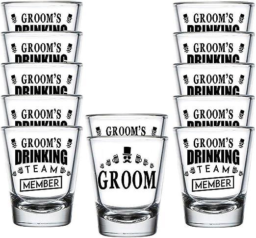 Wedding 2 oz Wedding Shot Glasses Groom Drinking Team Bride and Groom Bachelor Party Favors Six Pack
