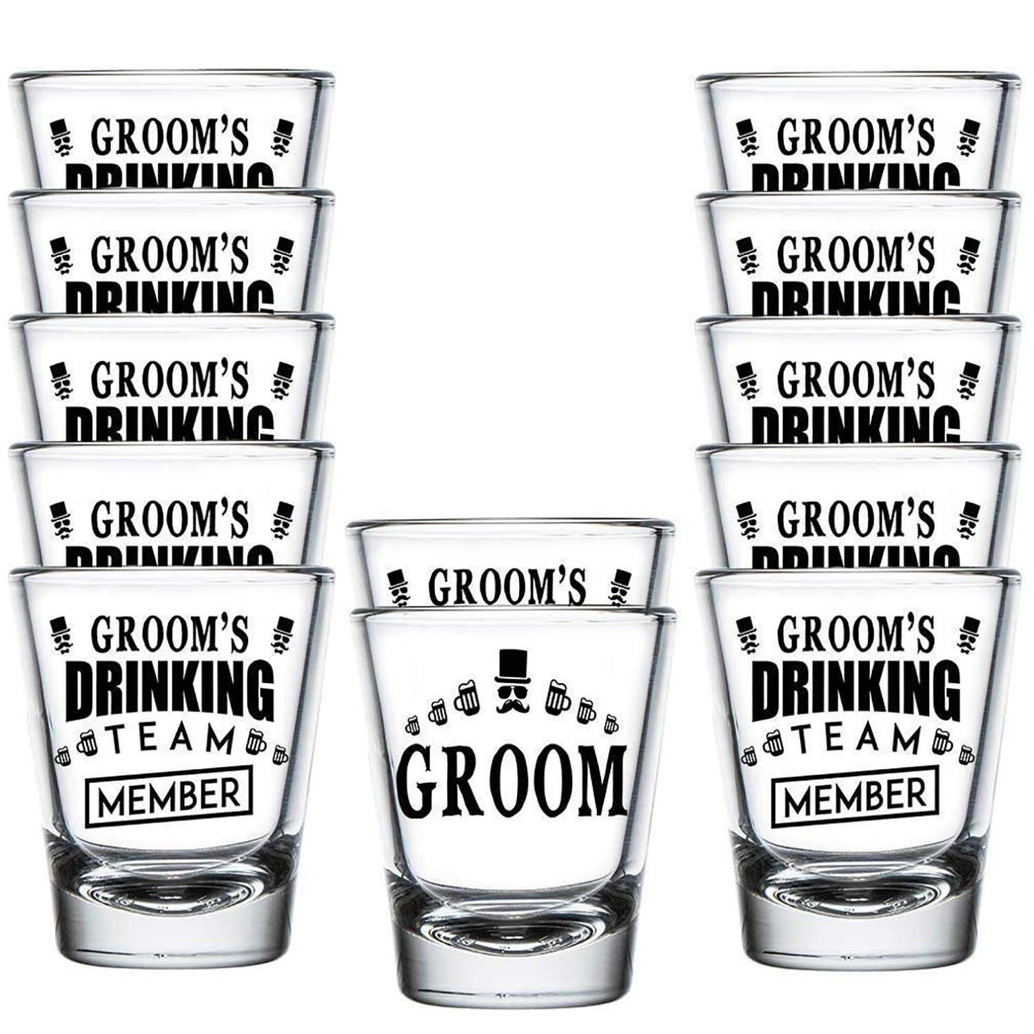 Shop4Ever Groom and Groom's Drinking Team Member Shot Glasses ~ Wedding Bachelor Party Favors ~ (12 Pack) by Shop4Ever