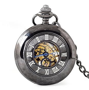 SW Watches Espejo Retro Hueco Esqueleto Reloj De Bolsillo Mecánico Automático Reloj De Cadena Unisex: Amazon.es: Hogar