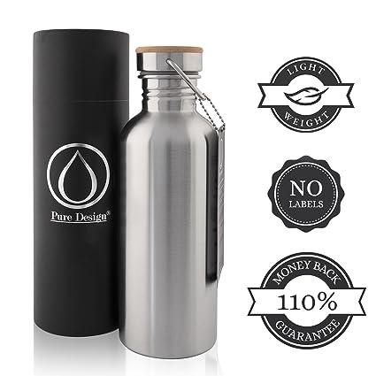 Botella Agua Acero Inoxidable 500ml para Niños e Infantil. Botella Metalica Agua 0.5 litro por Oficina e Deporte - Gimnasio, Yoga, Bicicleta - 100% ...
