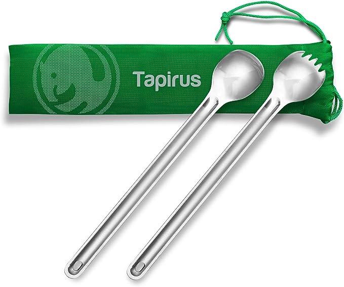 1pc Titanium Spoon Long Handle Spoon Outdoor Camping Tableware ESUS  TDUK
