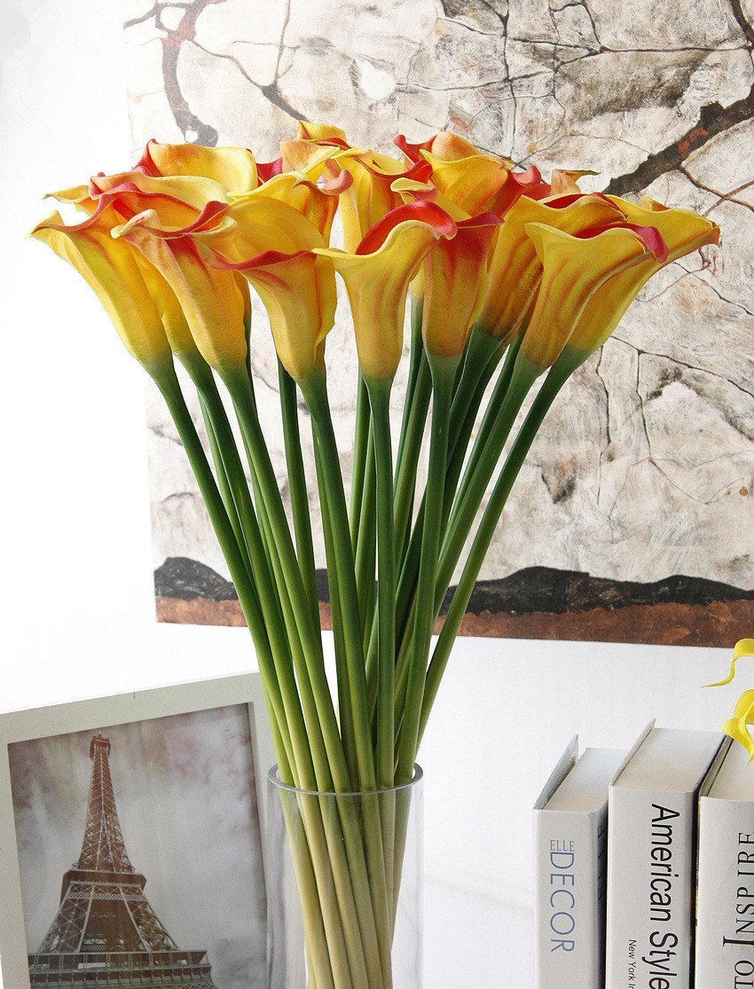 Floral Kingdom 25'' Large Handmade Real Touch PU Latex Calla Lilly Artificial Spring Flowers for Floral Arrangements, Bouquets, Home/Office Decor (6 Pack) (Yellow-Red) by Floral Kingdom