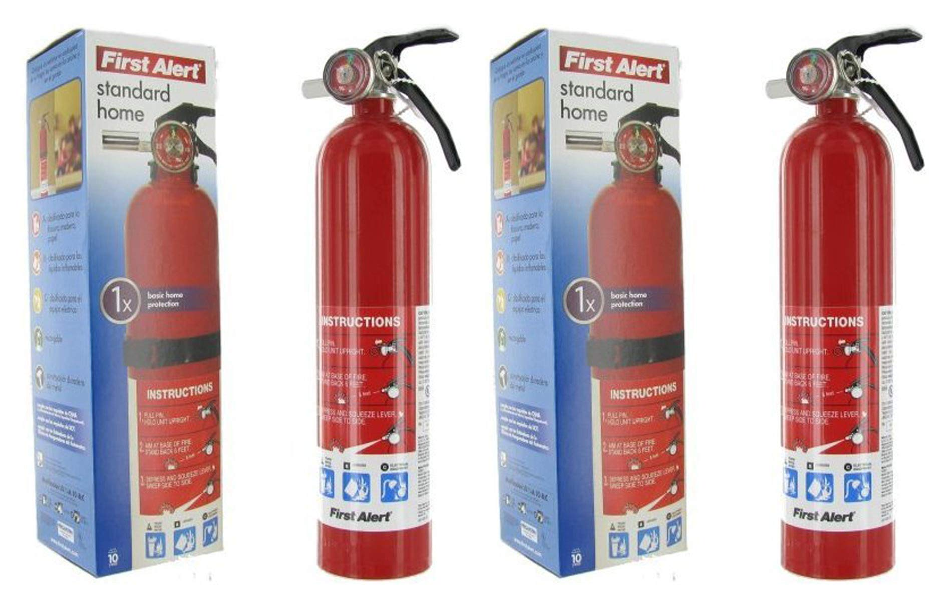 First Alert IUYEHDUH HOME1 ABC 2.5 Pound Rechargeable Fire Extinguisher-HOME1-1-A:10-B:C-10-Year Warranty 2 Pack
