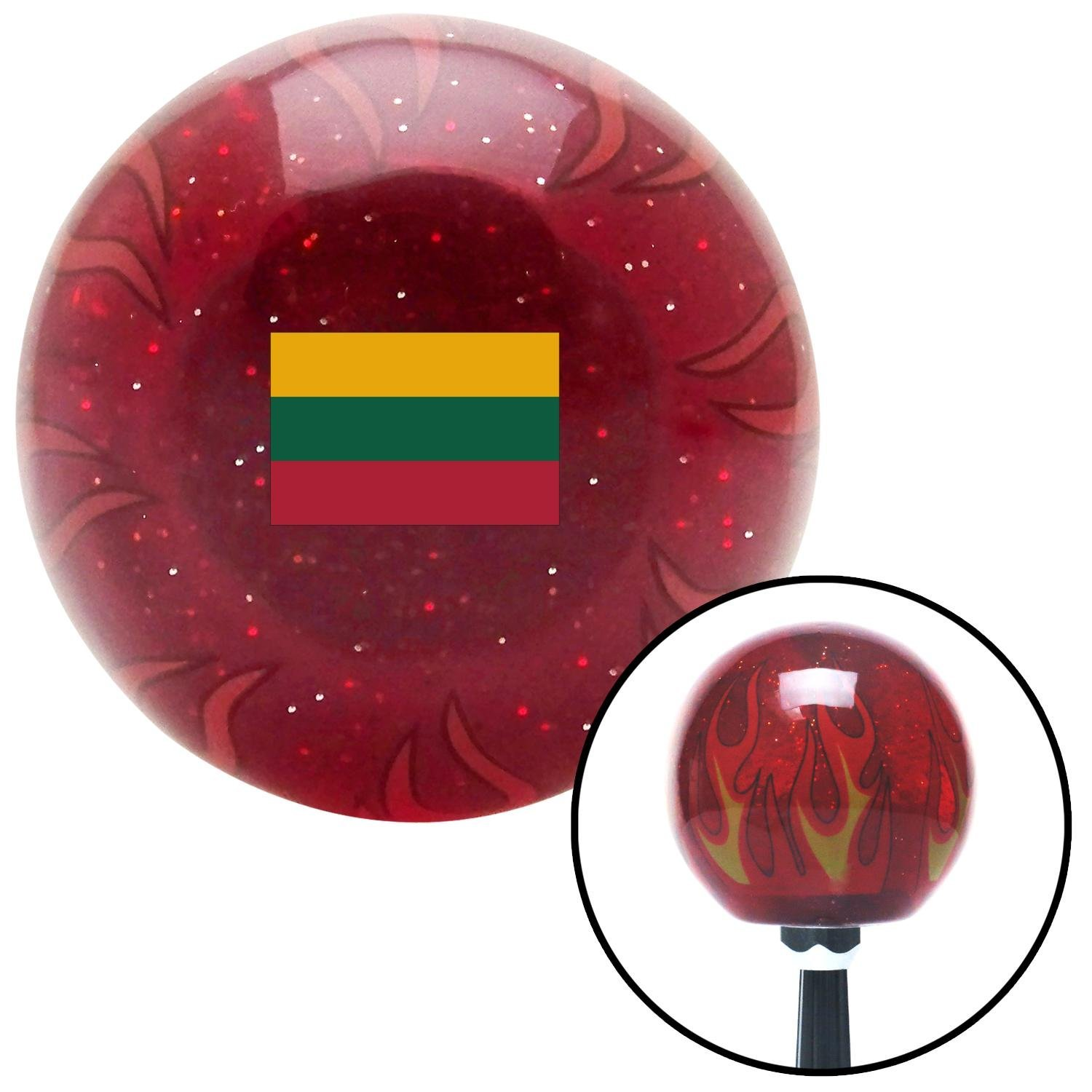 American Shifter 310151 Shift Knob Lithuania Red Flame Metal Flake with M16 x 1.5 Insert