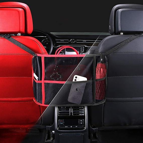 TTCPUYSA Car Net Pocket Handbag Holder Car Storage Net Pocket Between Two Seats Handbag,for Purse Storage Phone Documents Pocket Black