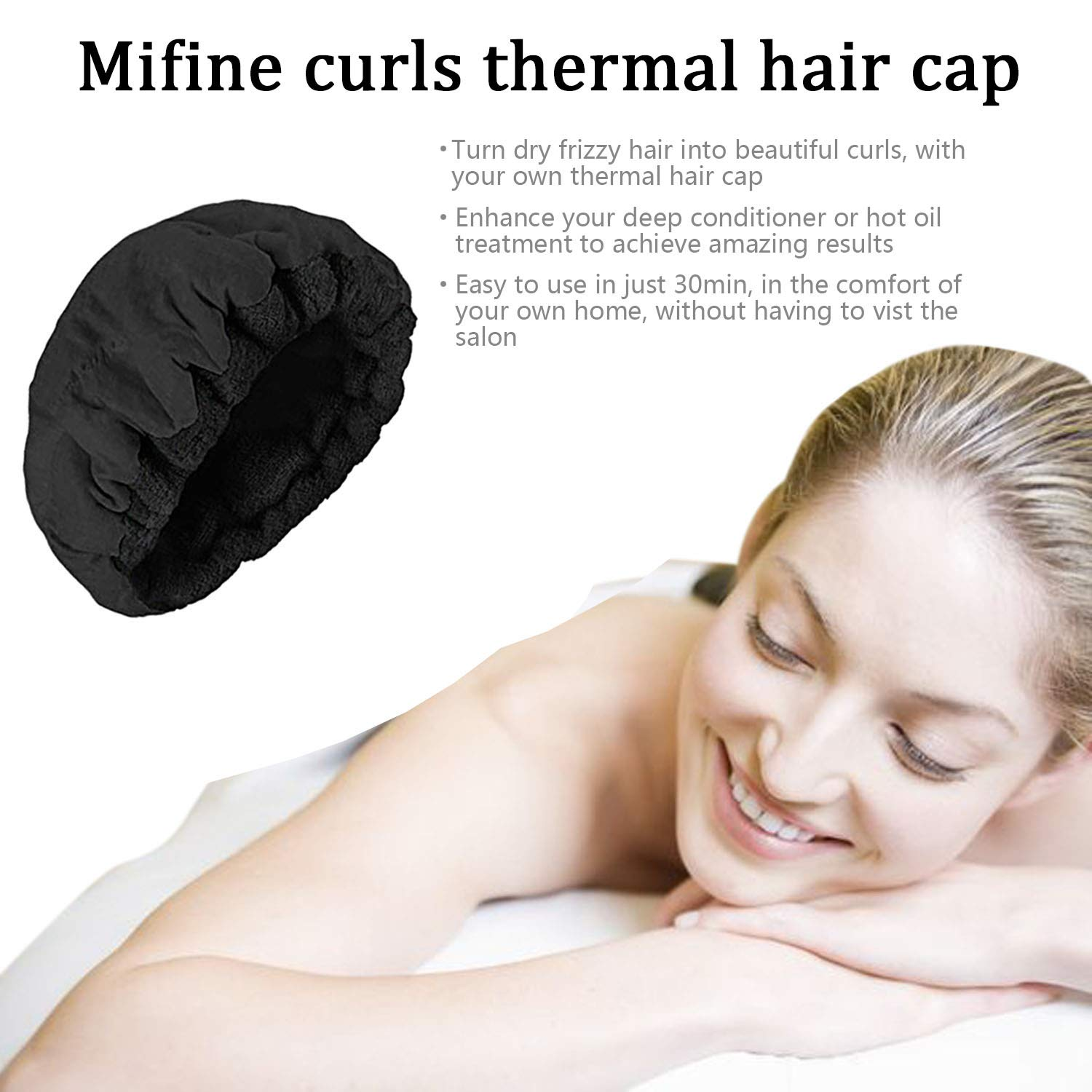 Deep Conditioning Thermal Heat Cap - Disposable Shower Caps, Curly Girl Method, Steaming Haircare Therapy, Oil Treatments, Hair Mask Therapy, Soft, Plush Cotton, Stretchy Nylon, Safe Microwave Cap by Mifine (Image #4)