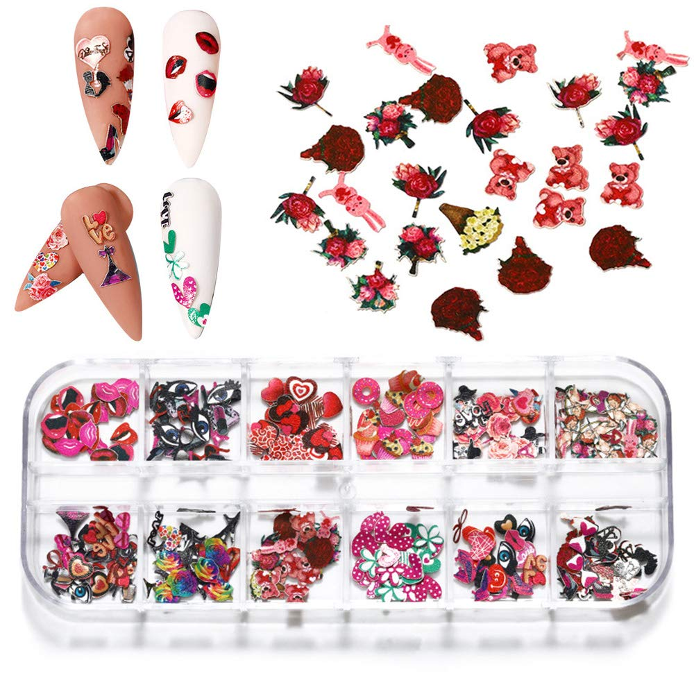 Macute Valentines Nail Glitter Decals, 12 Grids Valentine's Day Nail Art Stickers 3D Nail Art Supplies Mix Lips Heart Rose Flowers Wood Pulp Chips Nail Confetti for Women Nail Art Decor and DIY Craft