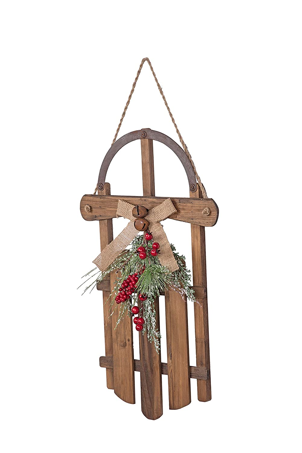 Transpac Imports D1540 Large Wooden Sled Decor Natural