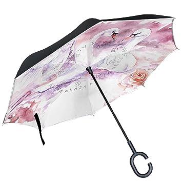 ALAZA cisne rosa flores lago San Valentín paraguas invertido doble capa resistente al viento Reverse paraguas