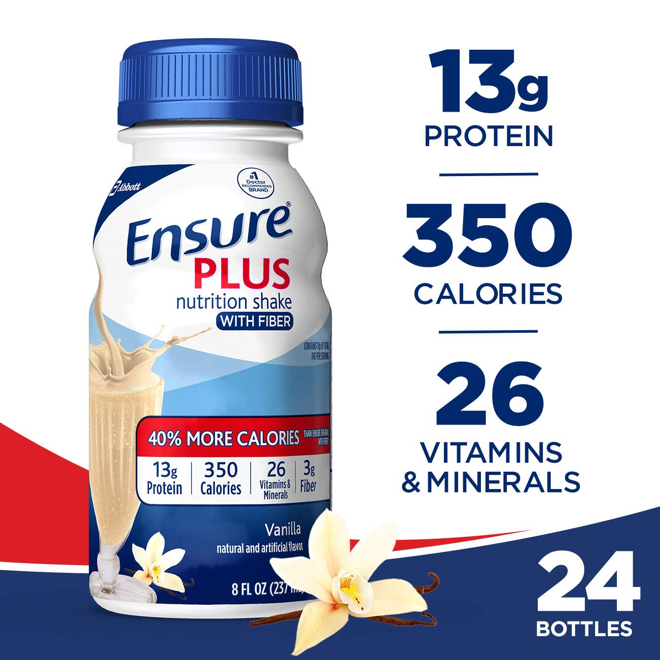 Ensure Plus Nutrition Shake with Fiber, 13g High-Quality Protein, Meal Replacement Shakes, Vanilla, 8 fl oz, 24 count by Ensure Plus