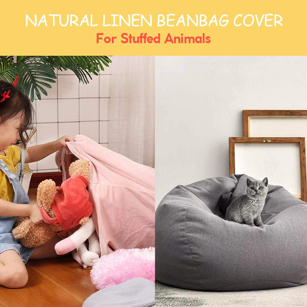 Fabulous Flameer 2Pcs Grey Sofa Bean Bag Cover Big 90Cm Width With Ibusinesslaw Wood Chair Design Ideas Ibusinesslaworg