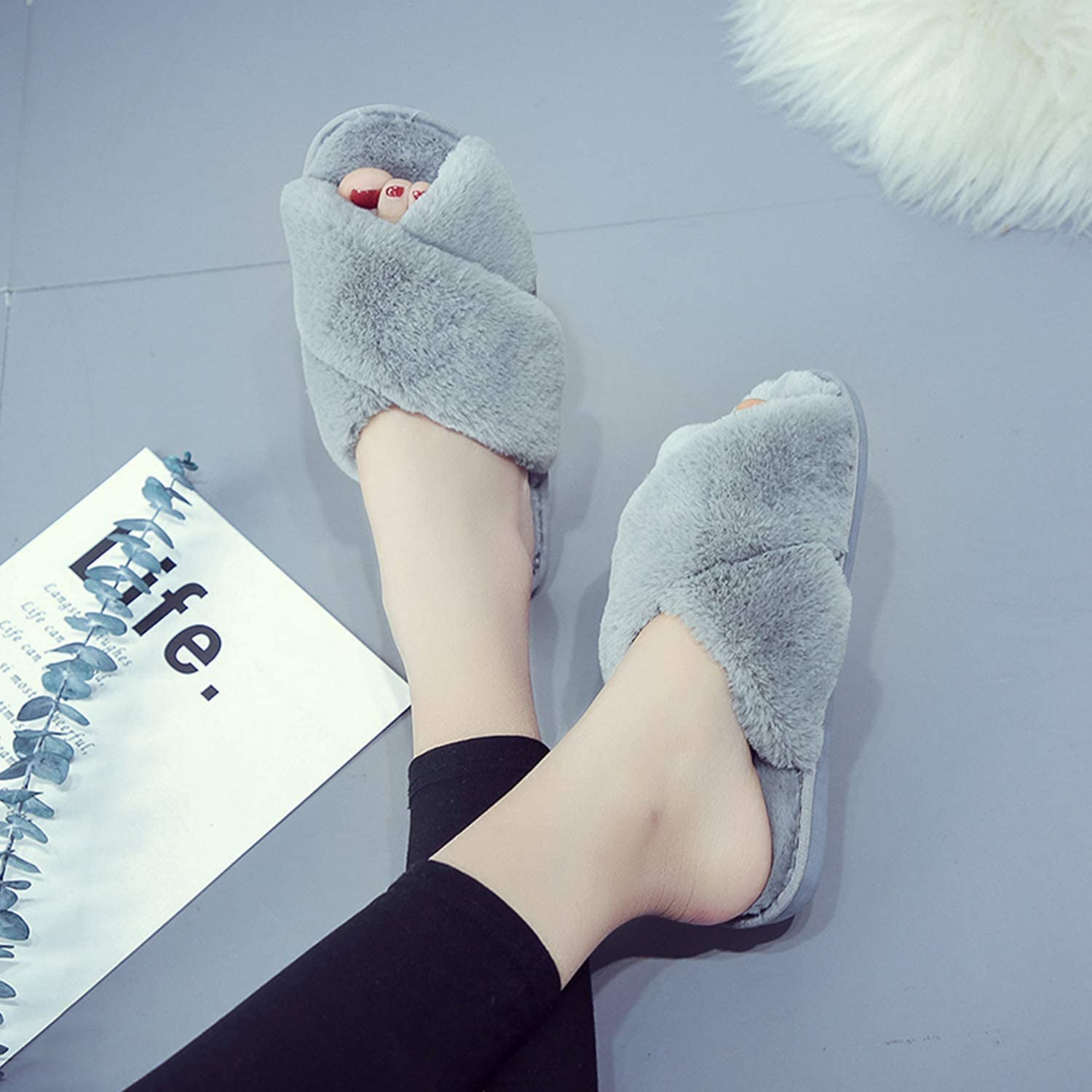 Topgalaxy.Z Womens Cross Band Soft Plush Fuzzy House//Indoor Slippers,Open Toe Faux Fur Fluffy Flats Slippers Warm Comfy Cozy Bedroom Slide Slippers