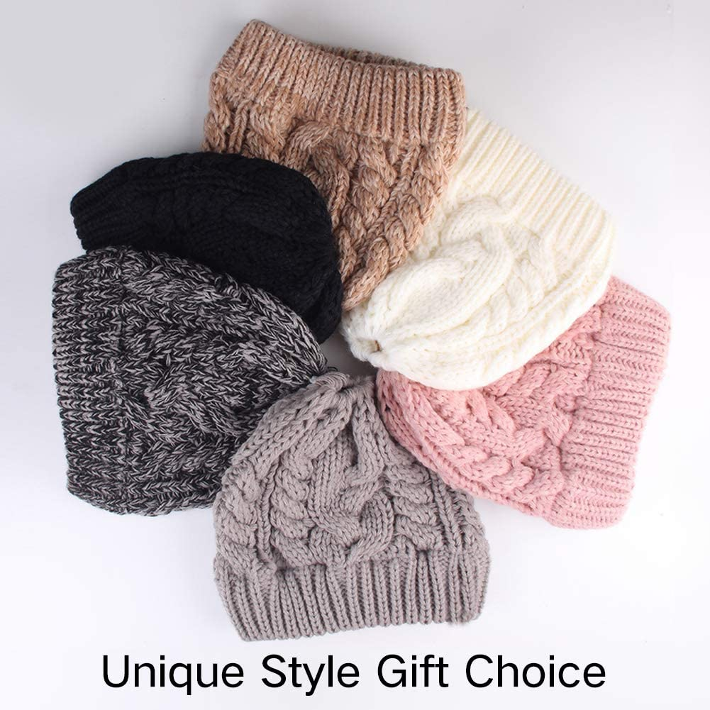 Age 3-10 Years Winter Hats For Girls Ponytail Beanie Hat Kids Toddler Girl Knit Cap Messy Bun