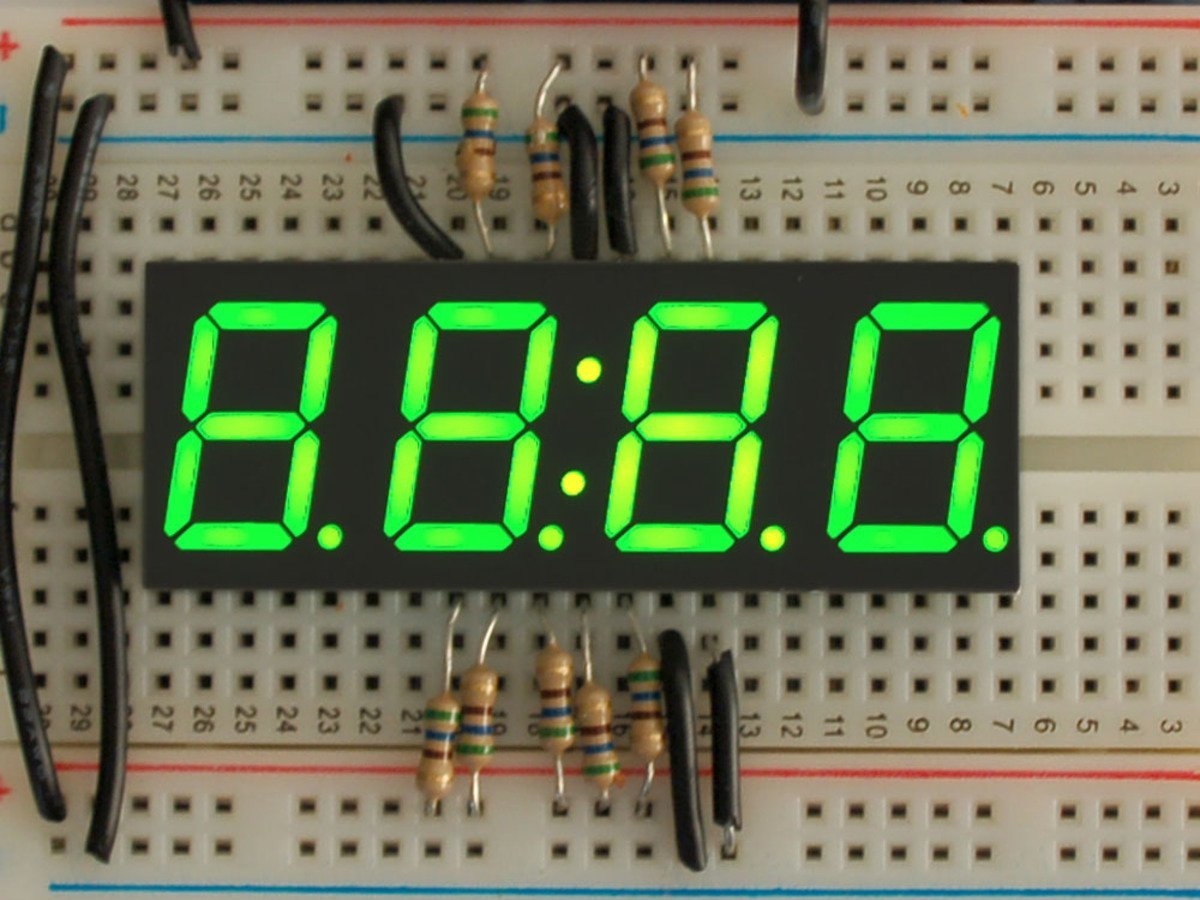 Adafruit Green 7-segment clock display - 0.56 digit height [