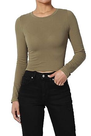 6a23f1e1fe76b TheMogan Junior's Long Sleeve Round Crew Neck Crop T-Shirt Tee Top Dusty  Olive S